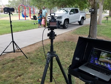 Outdoor commercial and advertising photography set up