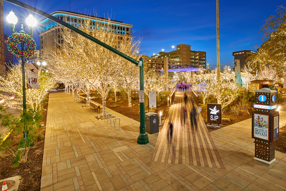 View of Christmas Decorations in San Jacinto Plaza in El Paso, Texas