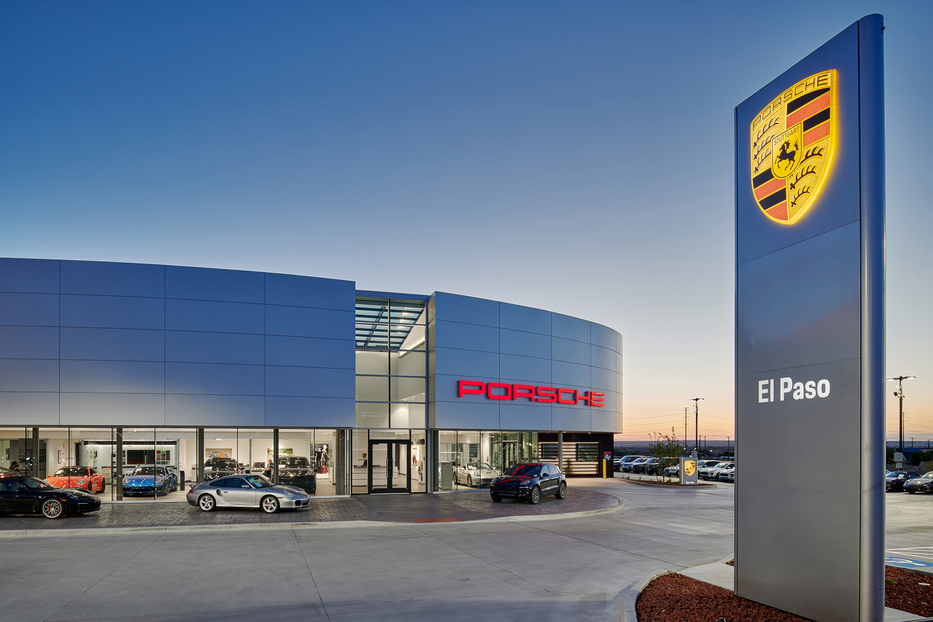 exterior architectural photography of porsche dealership