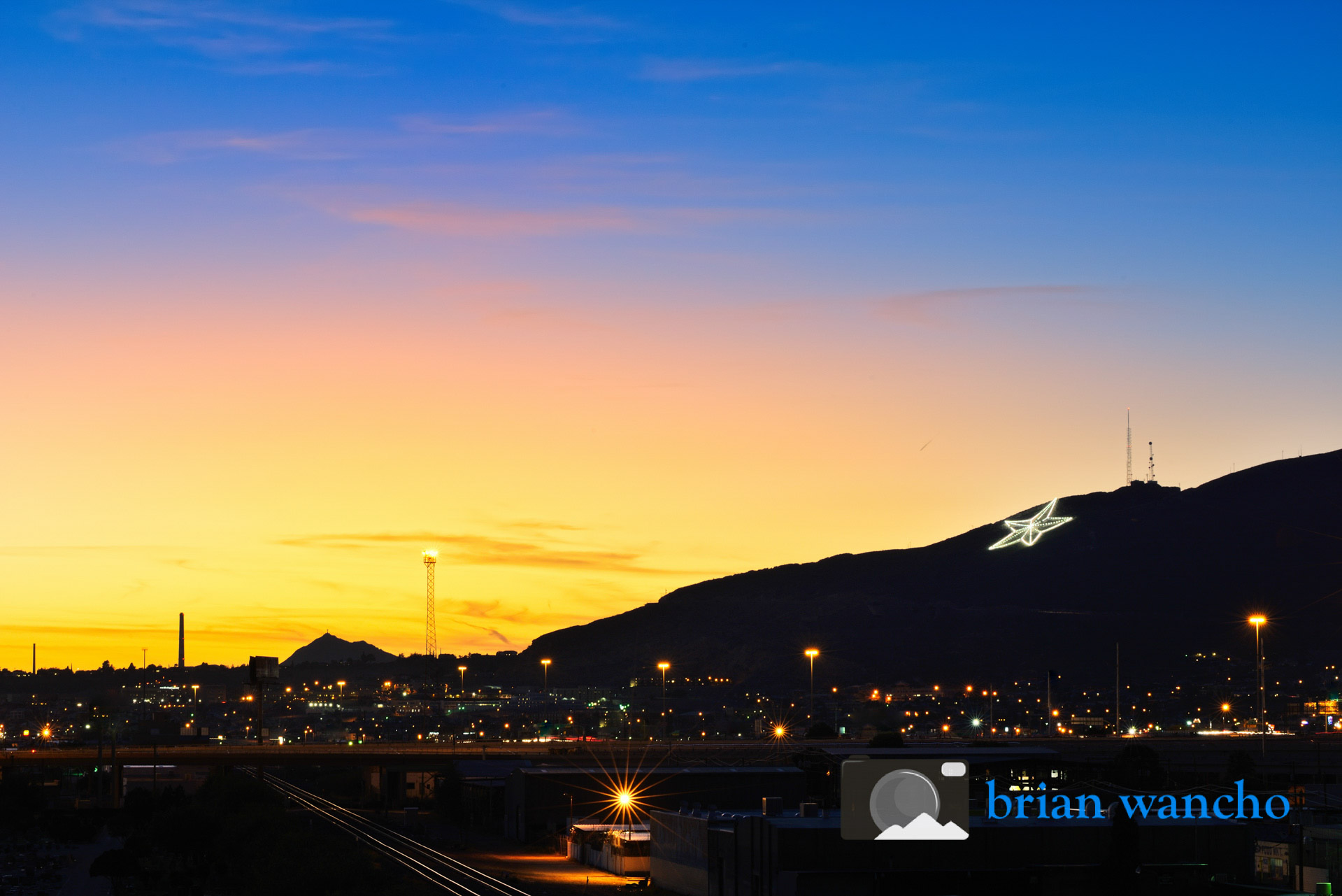 El Paso's star at sunset.