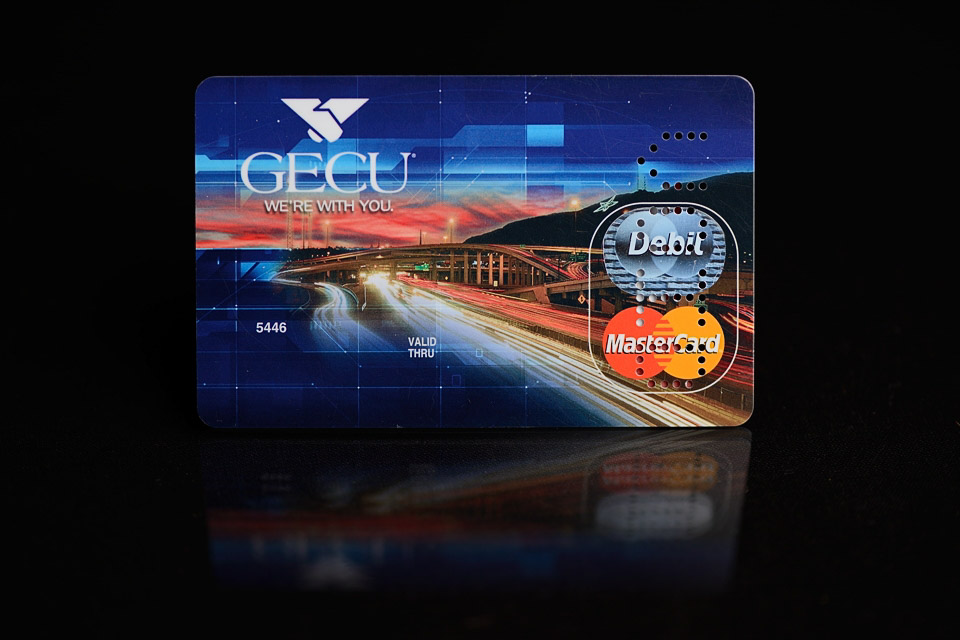 Commercial photography in El Paso - the GECU Debit card.