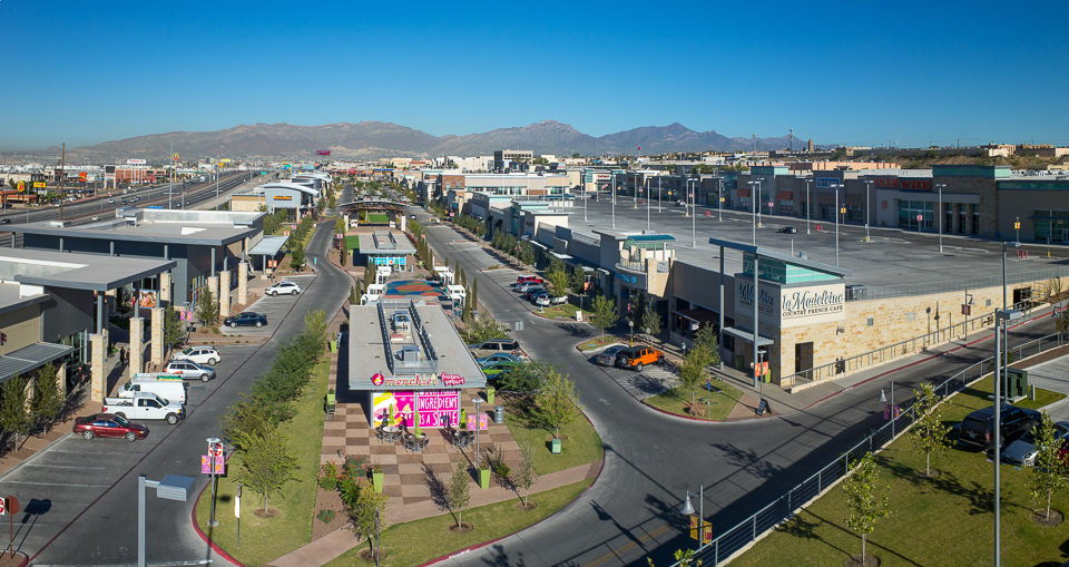 Aerial photography of The Fountains at Farah in El Paso