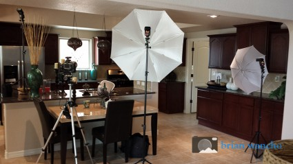 Behind the camera photographing a kitchen in El Paso TX
