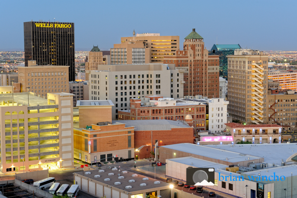 Day turns to evening in downtown El Paso