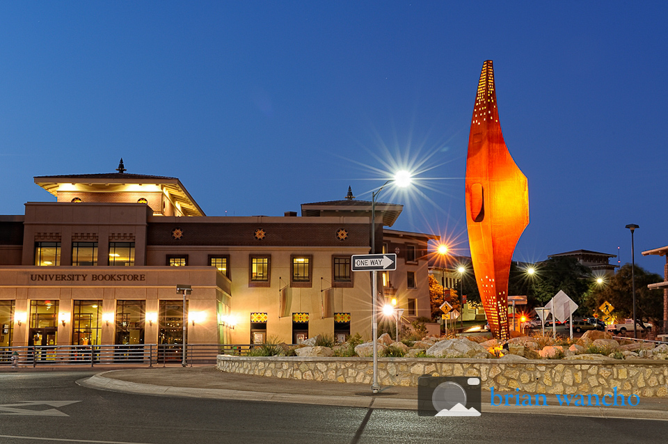 Exterior architecture photography - UTEP sculpture.